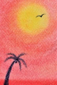 真っ赤な夕日に染まるヤシの木のポストカード